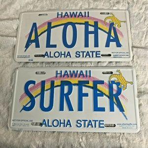 Vintage Hawaii License Plates ALOHA and SURFER not
